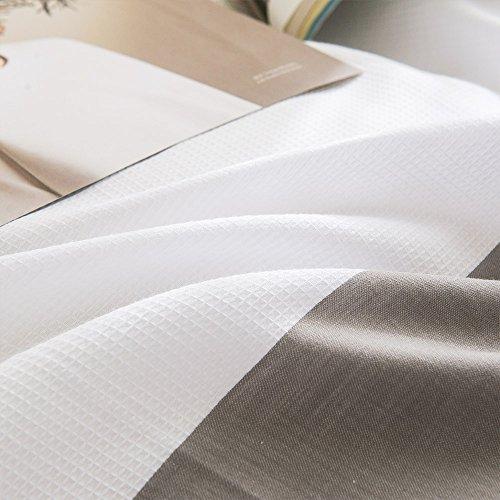 Merryfeel Bettwäsche-Set 2-3 teilige, 100% Baumwolle Garn gefärbt Bettbezug & Kissenbezüge – Grau - 7