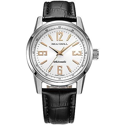 sea-gull gabbiano orologio D819.437 uomini moda automatico in acciaio meccanico impermeabile zaffiro sintetico cinturino in pelle di cristallo