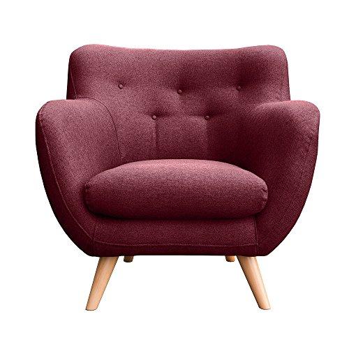 Sitzmöbel Lounge-stuhl (myHomery Sessel Adele gepolstert - Polsterstuhl für Esszimmer & Wohnzimmer - Lounge Sessel mit Armlehnen - Eleganter Retro Stuhl aus Stoff mit Holz Füßen - Bordeaux | Sessel)