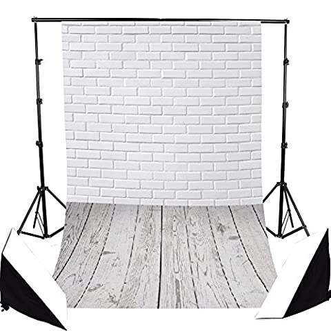 FLORATA 3x5ft CustomizableThin Vinyl Photography Backdrop White Brick Wall and Wood Floor Scene Computer-Print Seamless Photo Background Studio Props