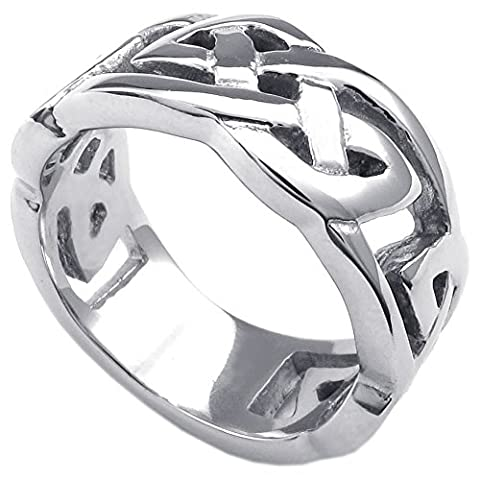 Konov Jewellery Mens Womens Stainless Steel Ring, Classic Celtic Knot, 10mm Band, Color Silver, Size V (with Gift Bag)