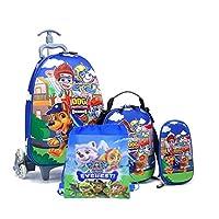 Kids'School bag trolley Rolling travel bag PAW Patrol with drawstring Bag set of 4 17inch 3-12years olds