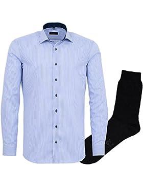 ETERNA Herrenhemd Slim Fit, blau, Streifen Twill + 1 Paar hochwertige Socken, Bundle
