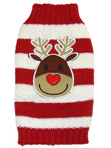 Moolecole Mode Weihnachten Reindeer Haustier Hund Knitted Pullover Winter Warme Jacke Haustier Hunde Welpen Bekleidung T-shirt Sweater Rot XXL