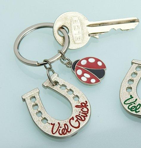 Preisvergleich Produktbild Schlüsselanhänger Hufeisen mit VIEL GLÜCK darauf und Marienkäfer Rot Gilde