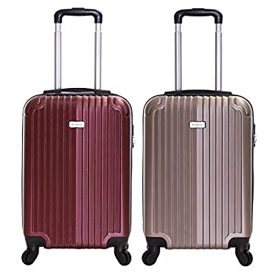 Slimbridge Borba Super Lightweight ABS Hard Shell Travel Cabin Carry On Hand Luggage Suitcase with 4 Wheels, Approved for Ryanair, EasyJet, British Airways, Virgin, Flybe and More - hand-luggage