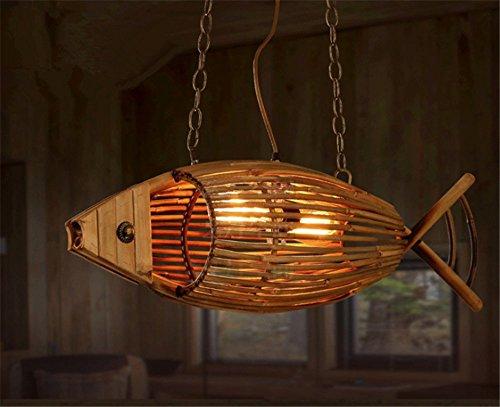 Fisch Pendelleuchten,Bamboo Weberei Hängeleuchte Lampe Gegrillter Fisch Shop Led Kreativ Persönlichkeit Deckenleuchte Restaurant Bar Café Gang Für E27 Led-lampen -