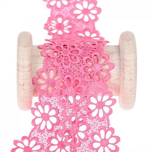 Guipure Blühende–Rosa Fuchsia–Breite 40mm