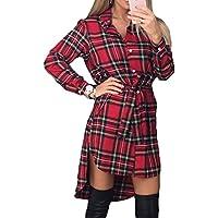 Mujer Vestidos Casual Suelto Blusa Tops Tartán Comprobar Camisa Irregular Dobladillo Vestir Alto Bajo Vestir Yuxin