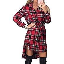 design di qualità fa43d 5d7bd camicia donna quadri rossa e nero - Rosso - Amazon.it
