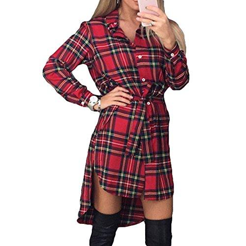 Damen Mode Kariert Plaid Kleid - Juleya Langarm Hemdkleider Pulli Tunika Minikleid Elegant Blusenkleid Shirtkleid Cardigan