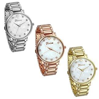 JewelryWe-Herren-Damen-Armbanduhr-Elegant-Modisch-zeitloses-Design-Analog-Quarz-Uhr-Legierung-Band-Quarzuhren-mit-knstlichen-Muscheln-Zifferblatt-Farbe-Silber-Gold-Rosegold