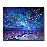 cmhai (Kein Rahmen) Fantasie Romantische Stern Meer DIY Malen Nach Zahlen Sternenhimmel Aurora Ölbilder Hand Malen Fär