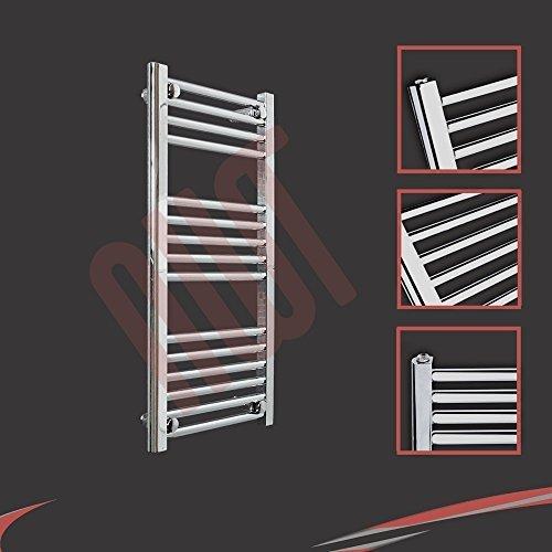 400mm (w) x 800mm (h) - Radiateur sèche-serviettes plat chromé Barre Horizontale Diamètre: 22mm, Bar Modèle: 4 + 5 + 6