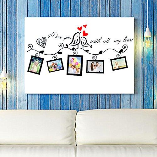 Romantico Photo Frame Adesivi Mural, Famiglia Photo Frame Decorazione Adesivi Murali, DIY Wallpaper adesivi murali, Camera da Letto Soggiorno Adesivi da Parete Removibili, Stickers Murali, Decorazione Murale (Love Birds)