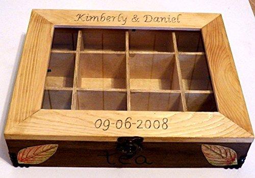 Tea-Aufbewahrungsbehälter, Küchen Box, Holz Tee Box, Teebeutel-Box, Handbemalte Box Dekorative Box mit Trennwänden, Küchenplanung übernehmen