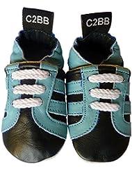 C2BB - Chaussons bebe cuir souple garçon   Baskets noires et turquoise