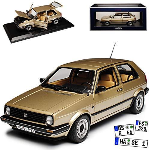Norev Volkwagen Golf II CL Beige Metallic 1983-1992 1/18 Modell Auto mit individiuellem Wunschkennzeichen