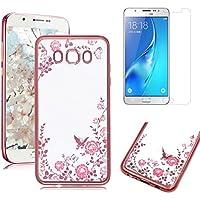 Funda para Samsung Galaxy J52016(SM-J510) carcasa silicona blanda y [vidrio templado Protector de pantalla], oyime purpurina mariposa y flor Diseño