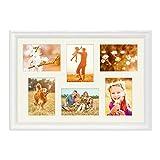 PHOTOLINI Fotocollage-Bilderrahmen 40x60 cm im Landhaus-Stil Weiss Collagerahmen Bildergalerie-Rahmen für 6 Bilder Wechselrahmen mit Passepartout