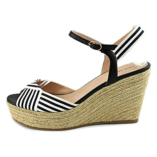 Nine West Breeze Damen Stoff Keilabsätze Sandale Blk/Wht