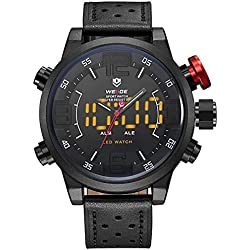 Alienwork LED Analogue-Digital Watch XXL Oversized Wristwatch Multi-function Leather white black OS.WH-5210-B-3