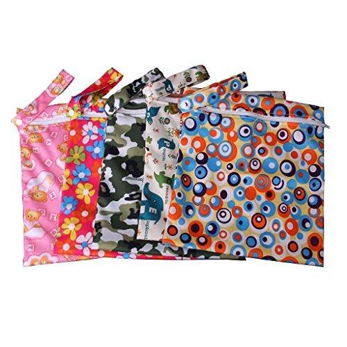 Baby Wasserdicht Reißverschluss Tasche waschbar wiederverwendbar Baby Tuch Windel Tasche w/Tiere und Blumen Muster Beige