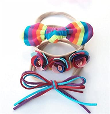 Whyyudan Beautiful Hair Decoration Gift Girl Hair Decorations Children Bow Tie Headbands Three-piece Suit (Multicolor)