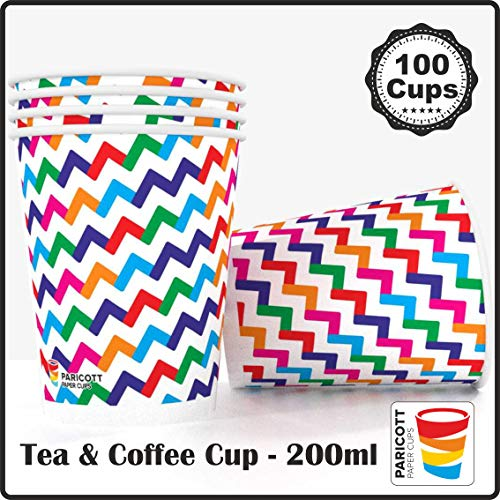Paricott 200ml Zig Zag Printed Disposable Party Paper Cups for Hot & Cold Beverages 7Oz (100 Pieces)
