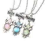 El Regalo Owls Multi Color Necklaces Set (Best Friends Forever) For Girls & Boys