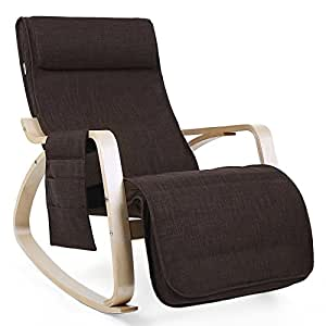 songmics fauteuil bascule rocking chair avec repose pieds r glable 5 niveaux design charge. Black Bedroom Furniture Sets. Home Design Ideas