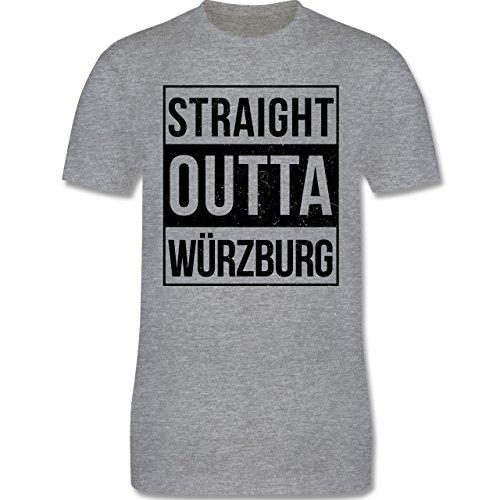 Franken Männer - Straight Outta Würzburg schwarz - L190 Schlichtes Männer Shirt Grau Meliert