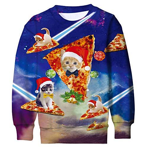 Funnycokid Youngs Ugly Christmas Sweater 3D Graphic Druck X-Mas Katzen Sweater Funny Teenagers Jungen Mädchen Fleece Sweatshirt (Sweater Xmas Ideen Ugly)