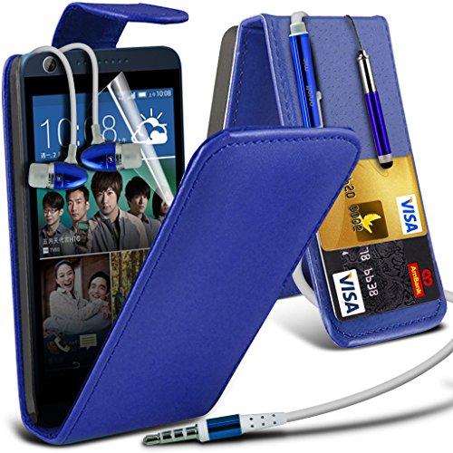 Fall für <b>      HTC Desire 626 / HTC Desire 626 E5603, E5606, E5653hülle     </b>    Case Universal Car Phone Halter Halterung Armaturenbrett und Windschutzscheibe für iPhone y i -Tronixs Leather Flip + Earphones ( Blue )