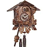 Selva NEGRA uhrenfabrik kammerer reloj de madera con mecanismo de pilas y cuco - oferta de relojes-Park Eble - Engstler - 26 cm Eichenlaub - 436 Q