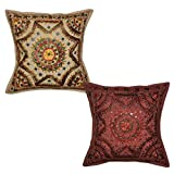 Lalhaveli Handmade Embroidered Work Design Cotton Cushion Cover 16x16 Inches Set Of 2 Pcs