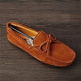 Hot Genuine Leather Men Shoes Nubuck Leather Men Loafers Fashion Plus Size Autumn Mens Shoes Casual Shoes10 Colors Size 38-45 A01 Brown 9