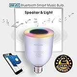 Ampoule Bluetooth Haut Parleur musicale, Dimmable LED 5W blanc + 5W RGB E27 Lampe Ampoule Couleur Changeante, APP À Distance Contrôlée Musique sans fil Stéréo Enceinte Audio avec Ampoule Intelligente par iOS ou Android - Wefunix BS-06 (argent)