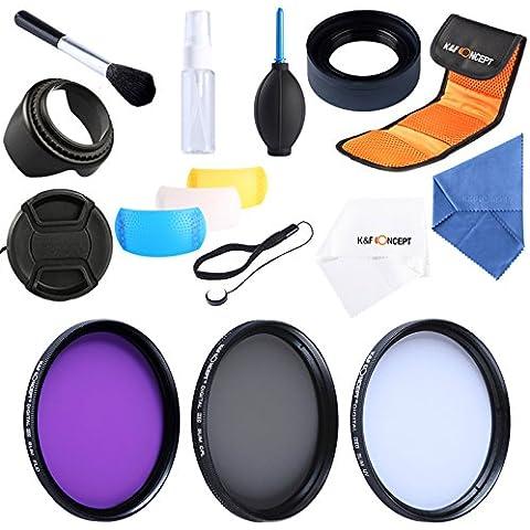 K&F Concept 55mm 3 piezas UV+CPL+FLD Filtro Kit de Accesorios de Lente UV Protector Polarizador Circular Filtro para Sony A37 A55 A57 A65 A77 A100 DSLR DSLR Cámaras