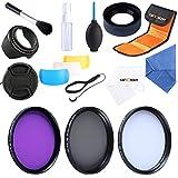 K & F Concept 58 mm CPL + UV + 3 FLD Filtre D'objectif Kit de filtre polarisant circulaire UV pour Canon EOS M, M2, 700D 600D 100D 1100 D 1200 D 650D appareil photo réflex numérique + chiffon de nettoyage microfibre pour objectif + Pare-soleil + Bouchon D'objectif avec cordon + Tri-color Diffuseur + Pare-soleil en caoutchouc pliable + Bidon + Air Brower + brosse + Pochette Sac filtre