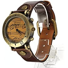 Reloj Analogico Cuarzo Vintage Pulsera Correa PU Marrón para Mujer Hombre