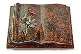 MEMORUM Grabmale Grabbuch, Grabplatte, Grabstein, Grabkissen, Urnengrabstein, Liegegrabstein Modell Antique 40 x 30 x 8-9 cm Aruba-Granit, poliert inkl. Gravur (Bronze-Color-Ornament Rose 5)