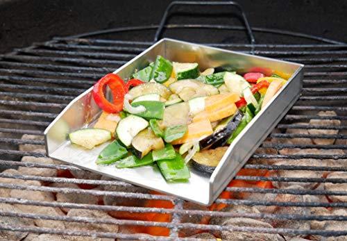 51 R94954nL - tradeNX Grillplatte aus Edelstahl - Massives Plancha & BBQ Zubehör zum Grillen von Fleisch, Fisch, Gemüse & Obst - 20 x 15 cm