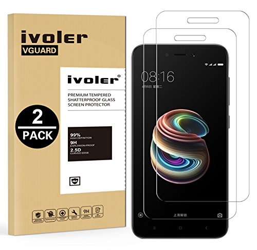 iVoler [2 Unidades] Protector de Pantalla para Xiaomi Redmi 5A, Cristal Vidrio Templado Premium