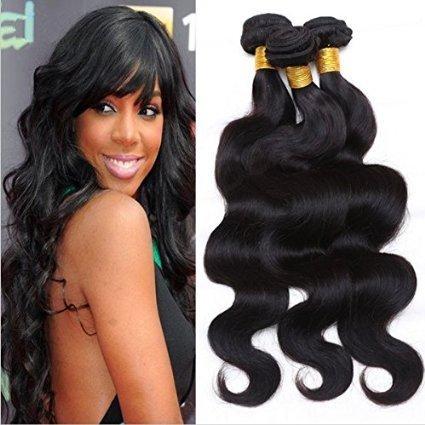 Cheveux brésiliens vierges 100% humains de Tissages naturel couleur Noir ondulés 3 lots 300 g par lot (30,5 cm 35,6 cm 40,6 cm)