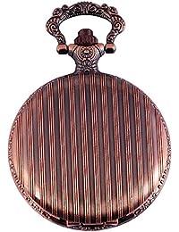 Elegante Taschenuhr Weiß Kupfer Look Streifen Analog Quarz Herrenuhr
