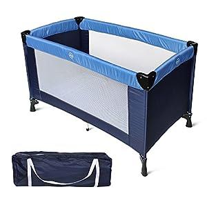 Todeco - Patio de Juegos para Bebes, Cama de Bebé Portátil - Tamaño desplegada: 125 x 76 x 65 cm - Carga máxima: 25 kg - Estándar CE, 125 x 65 x 76 cm, Azul cielo/Azul marino