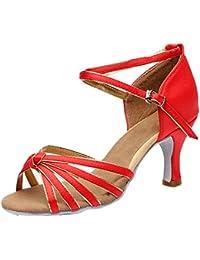 Azbro Mujer Zapato de Baile Latín de Tacón Alto con Correa Cruzada Puntera Abierta