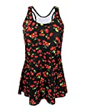 sourcingmap® Women Vintage One Piece Cherry Slim Bathing Suit Swimsuit Swimdress M Cover Up