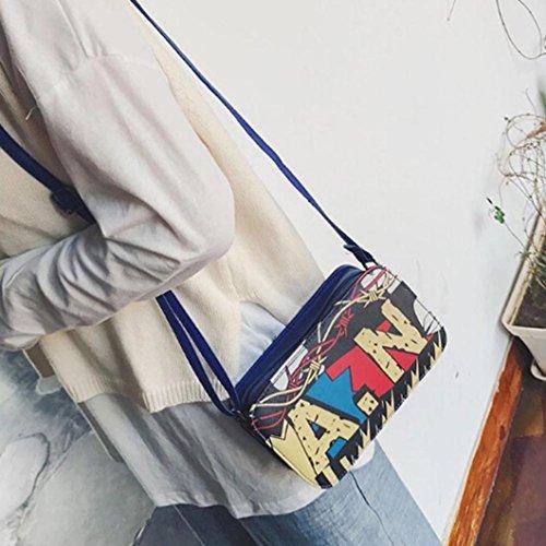 Longra Borse di modo del messaggero della spalla del blocchetto di colore di graffiti delle donne Blu Fotos Precio Barato dtqQ6